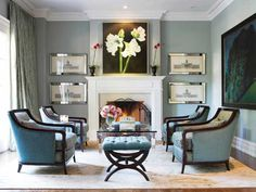 anchoring symmetrical  Photo by Virginia MacDonald; room design by Jeffrey Fisher Home