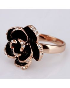 Black rose with diamond