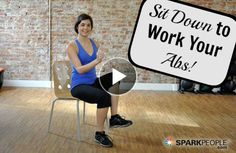 Sit Down to Work Your Core! This abs toning video uses no equipment and is surprisingly challenging. You can do it right from your desk chair! | via @SparkPeople #fitness #exercise #workout #seated