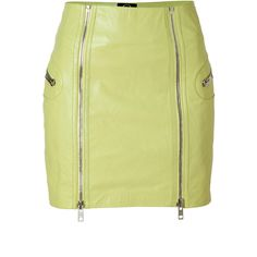 MCQ ALEXANDER MCQUEEN Bleached Neon Leather Skirt ($980) ❤ liked on Polyvore