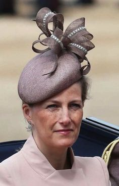 HRH Countess of Wessex at Trooping the Colour wearing a Jane Taylor cocktail hat is a tear shaped straw pieced with vintage glass trimmed sinamay loops.