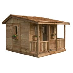 Kids of all ages will love our Cozy Cabin Playhouse! The Cozy Cabin is 7' Wide, 9' Deep (including porch) and over 6' high at the peak of the inside. Children w
