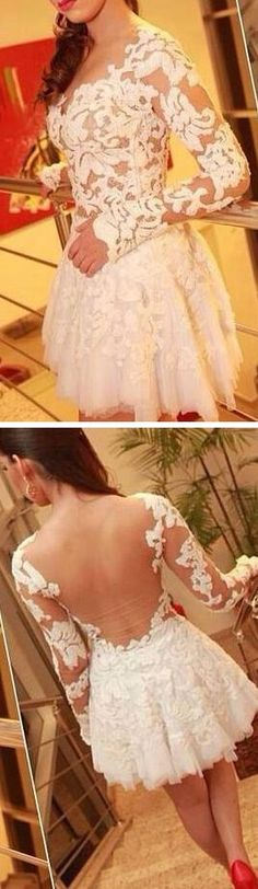 Chic Short Appliques Prom Dress,Long Sleeves Party Dress for Girls,Sexy Backless Cocktail Dress for 2017