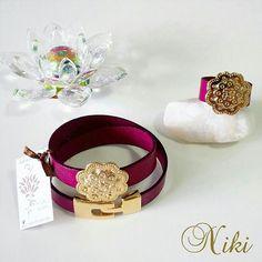 Hermoso conjunto de brazalete y anillo realizado en cuero italiano con dije y broche en baño de oro ■ Accesorios exclusivos de Niki Diseños - Instagram: @nikidisenosapc - Twitter: @nikidisenosapc - Facebook: Niki Diseños Accesorios - Pin BlackBerry: 58E1A4D9 - Canal PIN BB: C002B2056 - Correo: nikidisenosapc@gmail.com