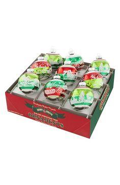 Christopher Radko 'Holiday Splendor' Flocked Glass Ornaments (Set of 9) available at #Nordstrom