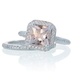 Morganite Ring 14K Princess Cut Morganite Diamond Cushion Halo Custom Engagement Wedding Bridal Anniversary with Matching Band Ring Set. $1,440.00, via Etsy.