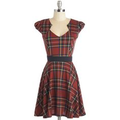 ModCloth Mid-length Cap Sleeves A-line Plaid and Subtract Dress