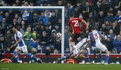 Spanish midfielder Ander Herrera drives an effort towards goal during the opening stages of the Ewood Park clash