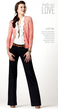 wear a cardigan at work with ruffly blouse and black pants