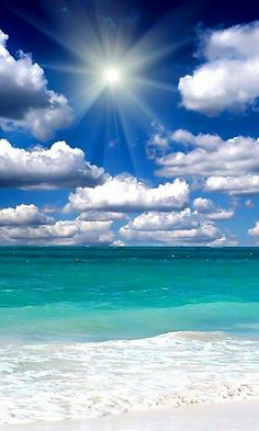 The perfection of a deep blue sky, turquoise sea, fluffy white clouds and… Ocean Wallpaper, Summer Wallpaper, Beautiful Nature Wallpaper, Beautiful Landscapes, Ocean Photography, Landscape Photography, Nature Pictures, Beautiful Pictures, Landscape Wallpaper