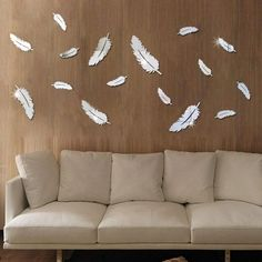 Feather Mirror Wall Stickers Home Decor Art Decal Wall Stickers for Kids Room Living Room Decorating Mural Decoration - affordable home livingroom farmhouse decoration ideas 3d Mirror Wall Stickers, Mirror Wall Art, Wall Stickers Home Decor, Wall Decals, Rustic Bathroom Decor, Farmhouse Decor, Modern Interior Design, Interior Inspiration, Decoration