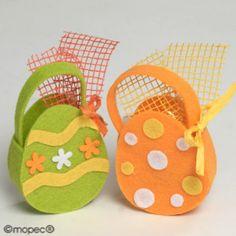 Cestita 3 huevos praliné fieltro naranja/verde