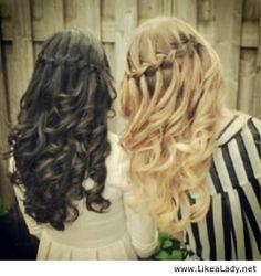 Waterfall braids for girls