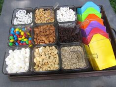 Mix your own trail mix. Cool idea for Girl Scout snacking badge (samoa cookies costume)