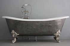 The Bridlington 73 Vintage Designer Burnished Cast Iron Clawfoot Bateau Bathtubs from Penhaglion.