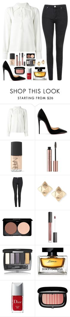 """""""Number 232"""" by charlene-ndy ❤ liked on Polyvore featuring See by Chloé, Christian Louboutin, NARS Cosmetics, Topshop, Valentino, Huda Beauty, Chanel, Dolce&Gabbana, Christian Dior and Marc Jacobs"""