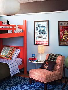 funky textures/patterns, orange/brown/blue for gender neutral, cool prints on wall -- I'd put storage crates under the bed for toys