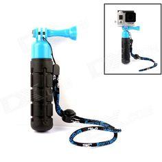 TMC G-546BB Handheld ABS + Rubber Stabilizer Grip w/ Strap for Gopro Hero 4/3+/3/2 - Blue + Black