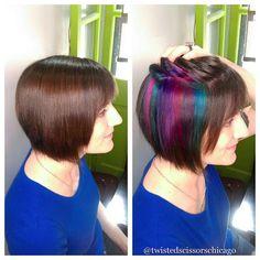 Secret rainbows by Colleen @vaselinedion! #peekaboo #pinkhair #purplehair…