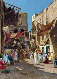 A day in the market  By Henry A. Ferguson - American , 1845 - 1911 - Oil on canvas , 63.5cm X 46 cm