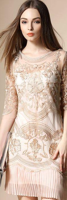 Beige Embroidered Pleated Hem Dress.