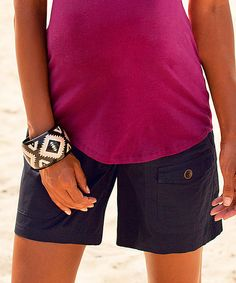 Look at this Navy Twill Over-Belly Maternity Shorts on #zulily today!