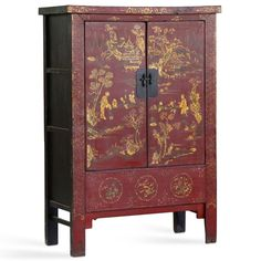 Painted Chinese Armoire in Red Lacquer with Intricate Gold Leaf Decoration #ChineseFurniture #Metallics