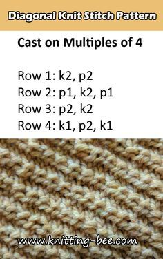 Free Diagonal Knit Stitch Pattern 2019 Free Diagonal Knit Stitch Pattern from www. The post Free Diagonal Knit Stitch Pattern 2019 appeared first on Knit Diy. Informations About Free Diag Knit Stitches For Beginners, Loom Knitting Stitches, Beginner Knitting Patterns, Easy Knitting Patterns, Lace Knitting, Knitting Needles, Stitch Patterns, Knitting Projects, Knitting Tutorials