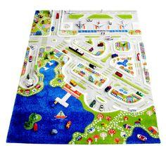 """3D Spielteppich und Kinderteppich Stadt """"Mini City"""" mit Hafen, Flughafen und Strand, in 4 Grössen erhältlich"""