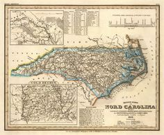Old map of North Carolina Vintage map by AncientShades on Etsy