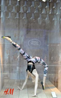 """H&M,London,UK, """"Be flexible in life"""", pinned by Ton van der Veer  Find athletic & yoga mannequins at MannequinMadness.com"""