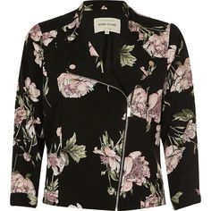 River Island Black floral print zip front biker jacket (€50) ❤ liked on Polyvore featuring outerwear, jackets, black, coats / jackets, sale, women, moto jacket, biker style jacket, biker jackets and floral jacket