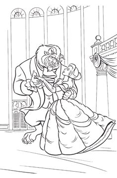 The Beast And Belle Dance Coloring For Kids