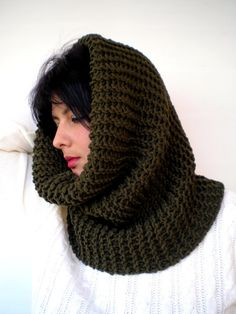"Olive Green Classic  Cowl Super Soft  Neckwarmer by GiuliaKnit, $55.00 26 "" long and 19"" high"
