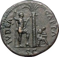 This coin minted during the reign of Titus has the words: IUDEA CAPTA, which means Judea is Captured. It is referencing the Jewish rebellion, which, at first, was a defeat after defeat for the Romans, but later, it ended with mass slaughter of Jews.