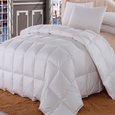 Royal Hotel California King Size Dobby Checkered White goose Down-Comforter 100 % Cotton Shell -Luxury Duvet Insert 40 oz. fill by Wholesalebeddings White Down Comforter, Queen Comforter Sets, Bedding Sets, Crib Bedding, Hotel King, White Ducks, Queen Size, King Size