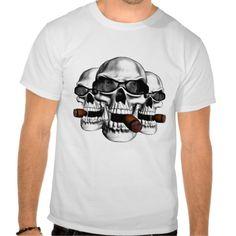 Skull Sunglasses Shirt. Skulls wearing shades and smoking cigars