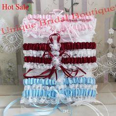 Bridal Garter Set 2017 Hot Sale Wedding Garters In Burgundy Pink Sky Blue Navy Blue Colors Satin & Lace Garter With Pearls & Flowers Dance Petticoats Designer Bridal Garter From Uniquebridalboutique, $10.46  Dhgate.Com