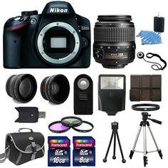 Nikon D3200 Digital SLR Camera + 3 Lens: 18-55mm VR II NIKKOR Lens + 24GB Bundle #Nikon