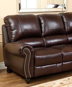 Look what I found on #zulily! Dark Burgundy Hunter Leather Reclining Sofa by Abbyson Living #zulilyfinds