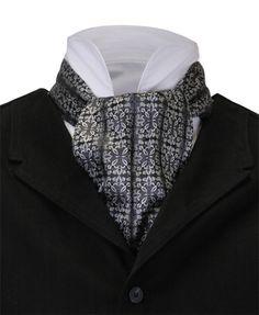 Kartesischer Ascot – Silber - New Sites Mens Ascot, Cravat Tie, Historical Emporium, Ascot Ties, Victorian Men, Period Outfit, Silver Man, Vintage Fashion, Menswear