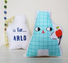 Fun and bright letter cushions with personalised back.Add a splash of colour and a personal touch to a kids bedroom with an alphabet character cushion. Letter Cushion, Cushion Pillow, Personalised Cushions, Unique Toys, Kids Furniture, Kids Bedroom, Color Splash, Cotton Canvas, Alphabet