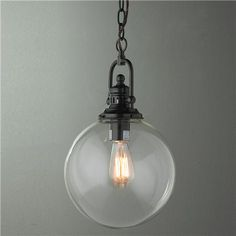 Clear glass globe industrial pendant $129