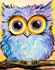 Cute blue and purple flaky owl painting. Easy Acrylic Painting Ideas for Beginning Cute blue and purple flaky owl painting. Easy Acrylic Painting Ideas for Beginning Bird Paintings On Canvas, Easy Canvas Painting, Acrylic Painting For Beginners, Simple Acrylic Paintings, Animal Paintings, Painting & Drawing, Acrylic Painting For Kids, Simple Paintings For Beginners, Wine Painting
