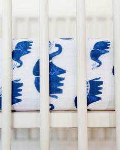 Cotton Muslin Crib Sheet - Indie Elephant