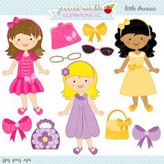 Little Dresses Cute Digital Clipart - Commercial Use OK - Easter Girl Graphics, Easter Clipart, Dress up Girl Clipart