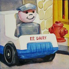 """Got Milk"" 5"" x 5"" - watercolor on paper  http://www.dailypaintworks.com/Artists/kara-k-bigda-394"