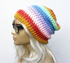 Rainbow Crochet Slouch Beanie- Ultimate Slacker- love it!