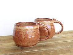 Coffee Cups Ceramic Stoneware in Shino Glaze  by dorothydomingo