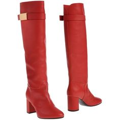Giuseppe Zanotti Design Boots ($780) ❤ liked on Polyvore featuring shoes, boots, red, leather boots, giuseppe zanotti shoes, red shoes, leather shoes and round toe shoes